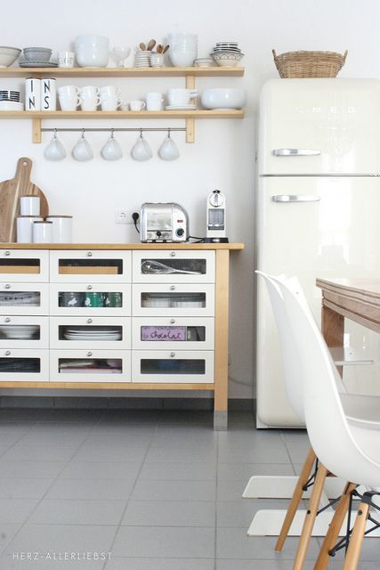 the organised kitchen.