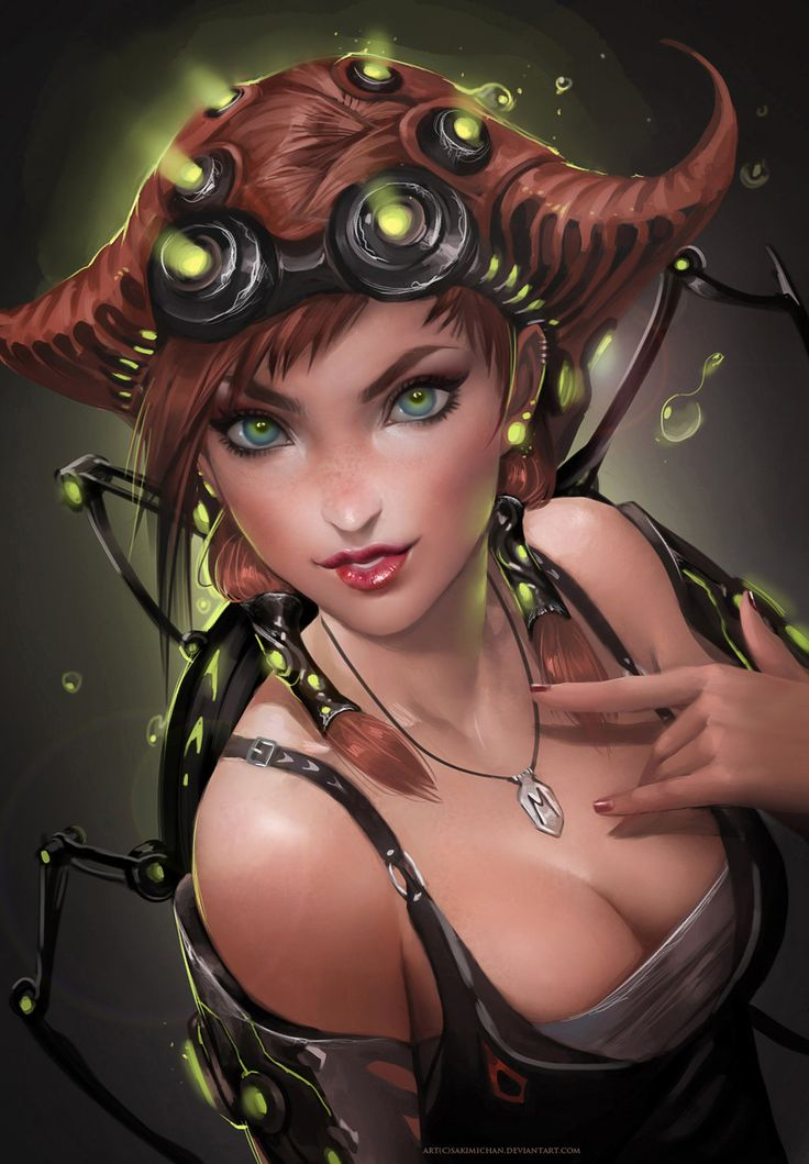 The Tech by *sakimichan on deviantART  Love the lights in the hair, could probably do that with LEDs