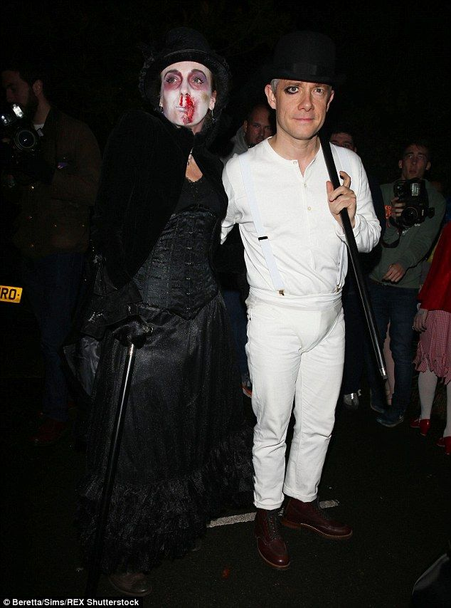 All dressed up: Martin Freeman took inspiration from A Clockwork Orange while Amanda Abbington's costume had a Victoriana vibe