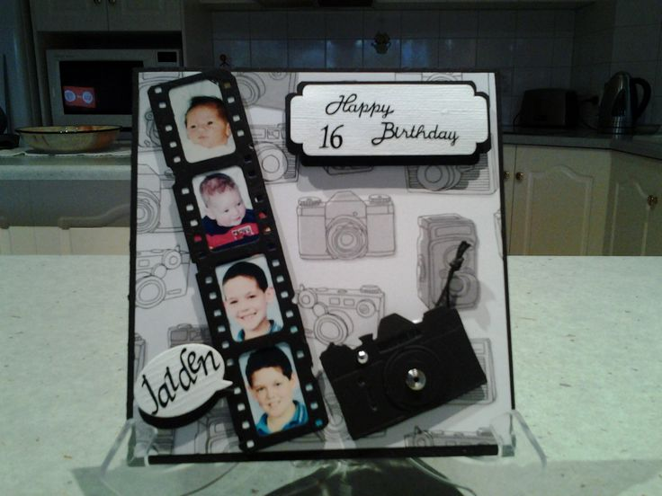 16th birthday card camera & film strip.