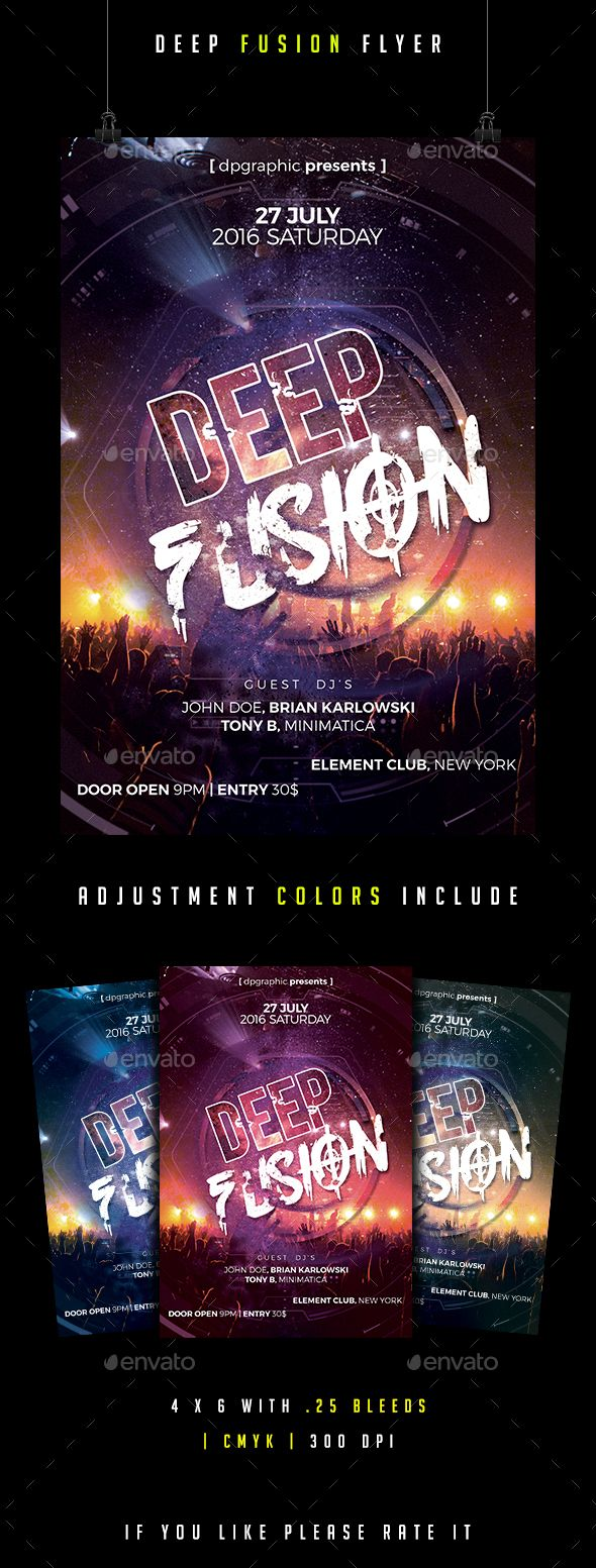Deep Fusion Flyer - PSD Template • Only available here ➝ http://graphicriver.net/item/deep-fusion-flyer/16872321?ref=pxcr