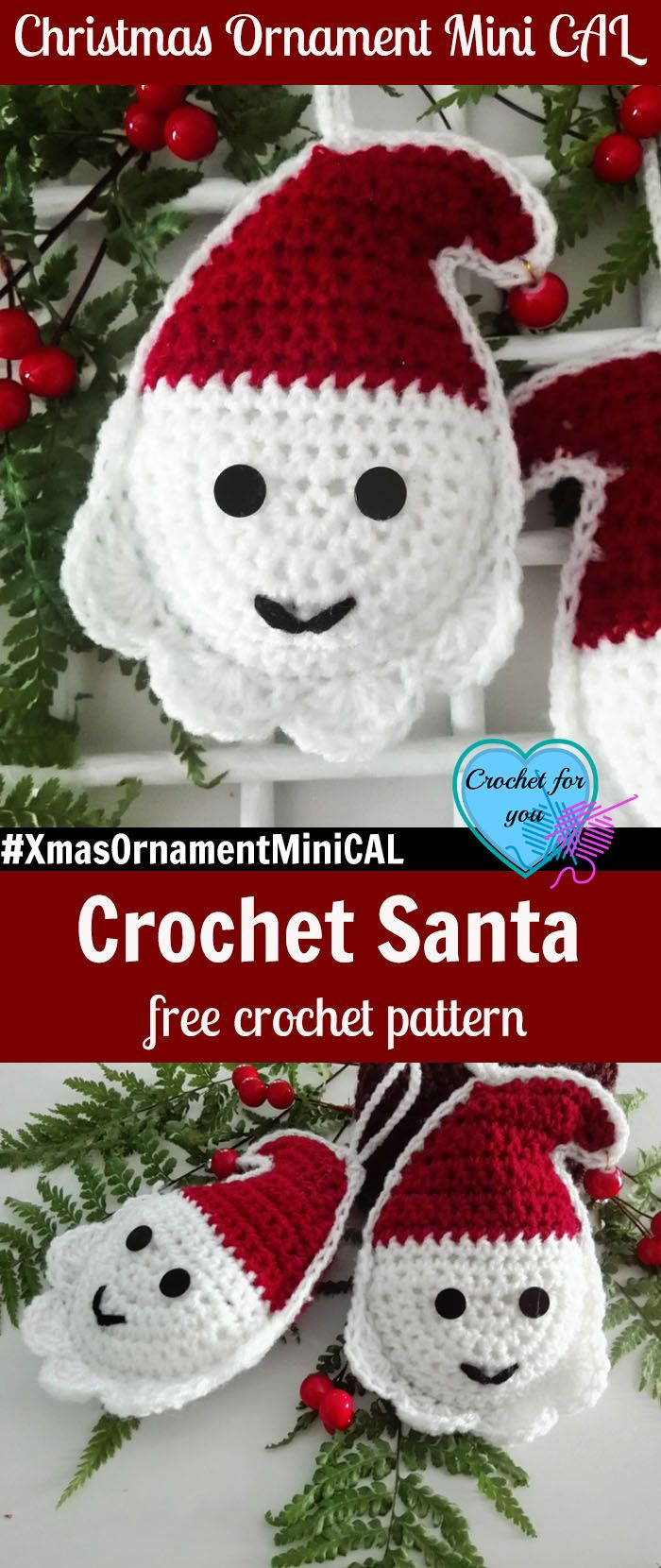 Christmas Ornament Mini CAL - Crochet Santa. #XmasOrnamentMiniCAL