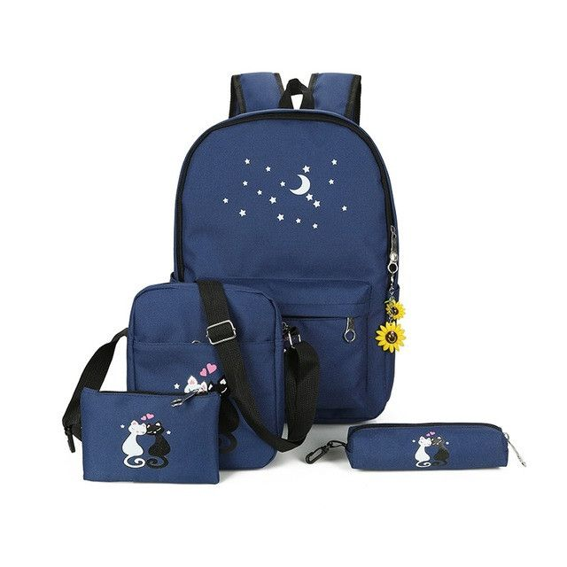 blue cat backpacks for girl pink printing bagpack for school casual crossbody school set bags pencil pocket shoe bag