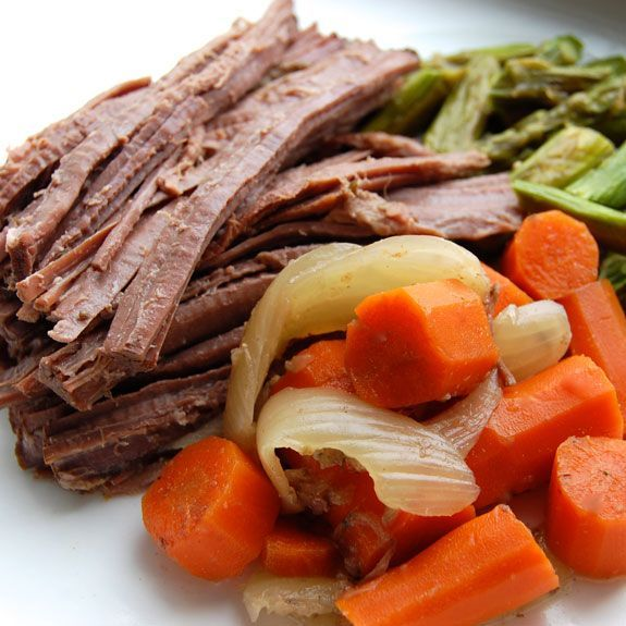 slow cooker brisket  2 lbs. beef brisket 1 large onion, chopped 6 carrots, diced 8 oz. mushrooms, sliced 6 cloves garlic, peeled and sliced 3 cups beef broth 4 fresh thyme sprigs 1/2 tsp salt freshly ground pepper