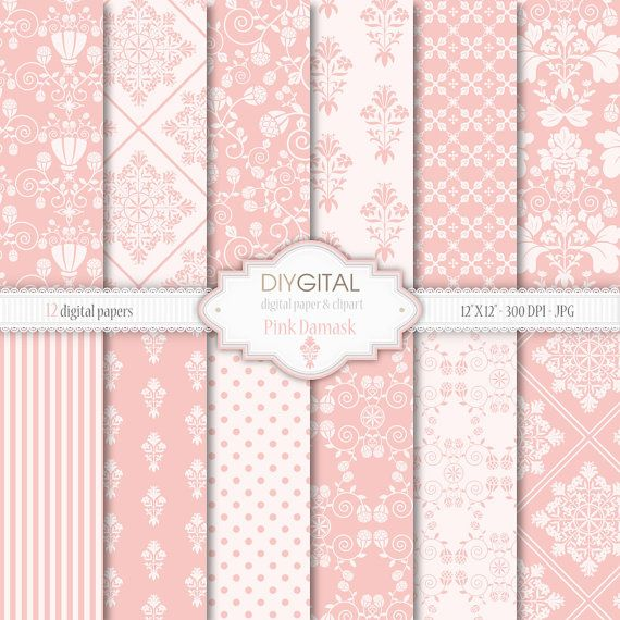 Pink Damask- Soft Pink Damask digital papers for scrapbooking, cards,graphics, wedding invites, with damask, flowers, stripes, polka dots
