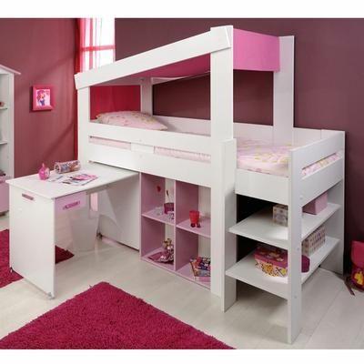 ELEGANCE Combiné - Coloris blanc megève / Mélaminé rose - Dimensions 208x190x110cm - Lit haut + échelle + toit en tissu - Ne convient pas à des enfants de moins de 6 ans.
