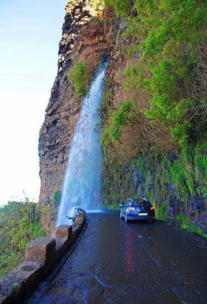 Wash your car with nature :)  Waterfall Highway, Madeira, Portugal.