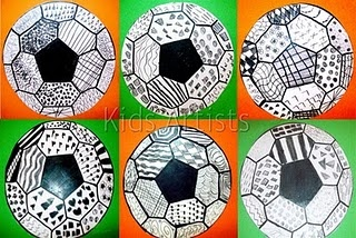 line, shape, pattern. This would make great art for the hallway leading to the gym! I loved doing black and white patterns in college.  Love the soccer ball idea
