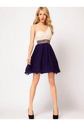 A-line One Shoulder Sleeveless Short/Mini Chiffon Cheap Homecoming Dresses/Short Cheap Prom Dress #FD054