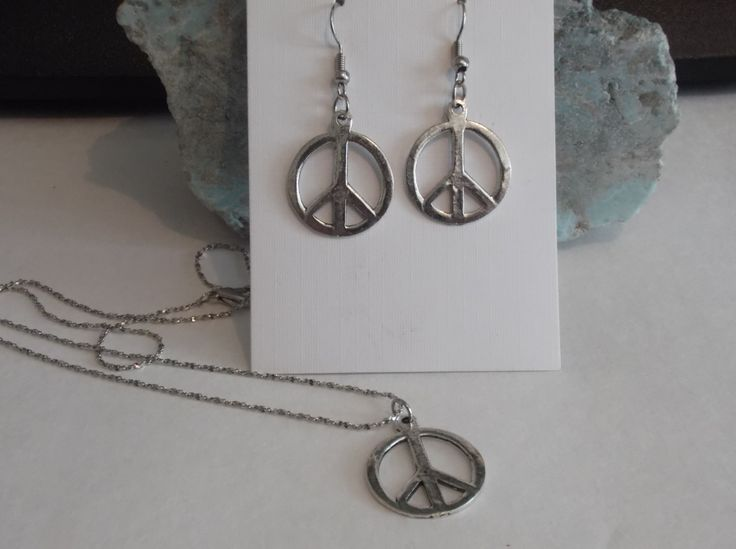 Peace Symbol Pendant Necklace and Earring Set by HealingAuras on Etsy