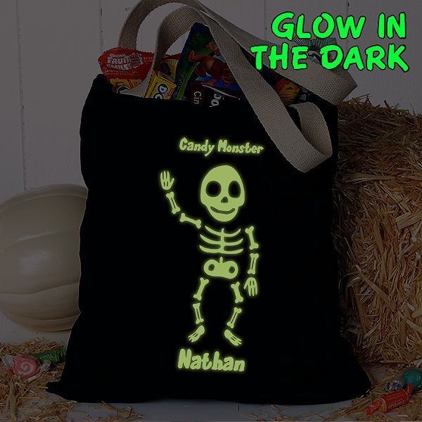 Skeleton Trick or Treat Bag Personalized Skeleton Halloween Bag