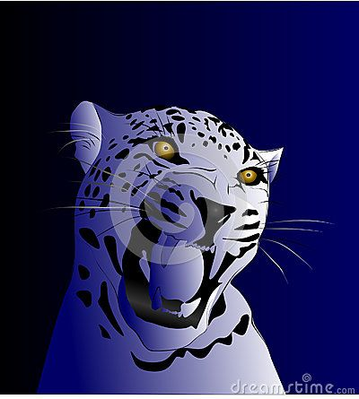 Vector drawing of a leopard captured in shades of blue gradient background.