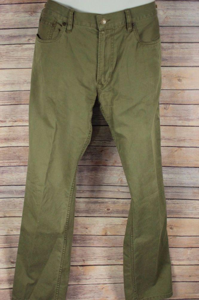 Polo Ralph Lauren Mens Pants size 34X34 Green Flat Front 100% Cotton Dry Goods #PoloRalphLauren #CasualPants