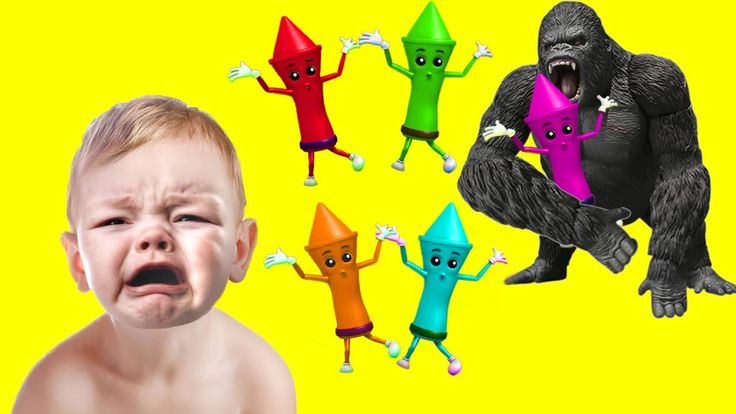 Bad Baby Crying Learn colors with King Kong Crayons Color Song Nursery R...