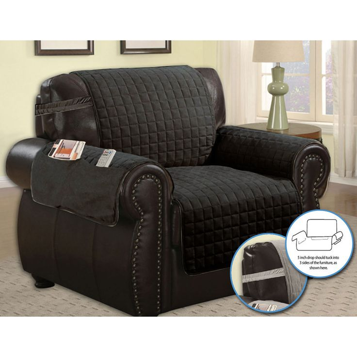 Quilted Microfiber Pet Dog Couch Furniture Protector With Side Pocket,  Tucks U0026 Strap