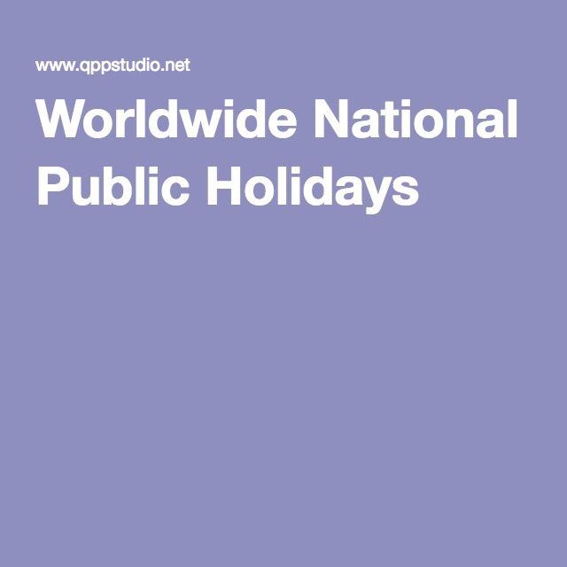Worldwide National Public Holidays