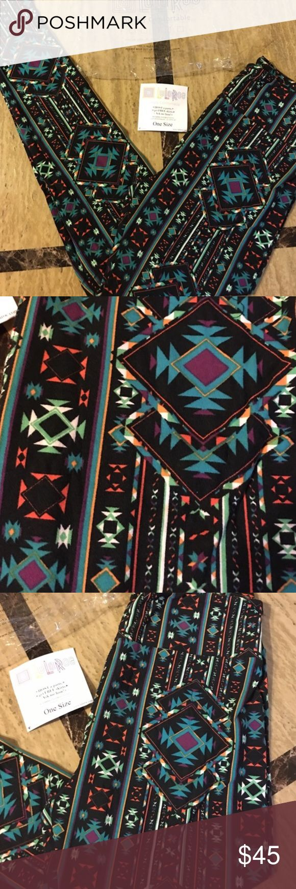 Lularoe black multi color Aztec print leggings OS Lularoe black multi color Aztec print leggings, women's one size fits size 0-10. Brand new with tags, buttery soft! Purchased from another posher but I need a bigger size. Made in China LuLaRoe Pants Leggings