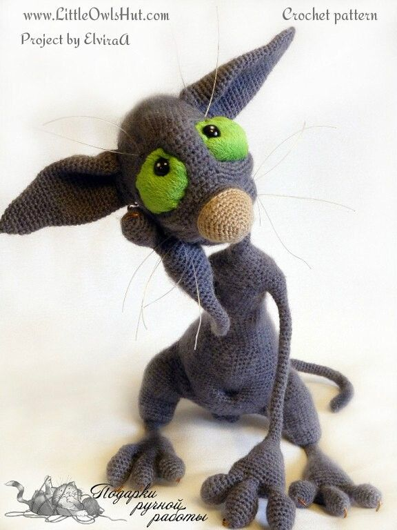 Project by ElviraA. Hairless Cat Filimon. Crochet pattern by Astashova for LittleOwlsHut#LittleOwlsHut, #Amigurumi, #Astashova, #CrochetPattern, #Cat, #DIY, #Pattern, #Toy