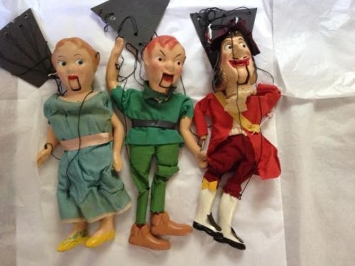 Vintage Marionette String Puppets Peter Pan Wendy