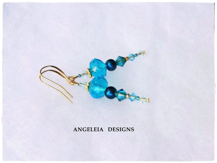 Gorgeous Turquoise Blue Crystal and Pearl Drop Dangle Earrings #bridal #jewelry #pearls