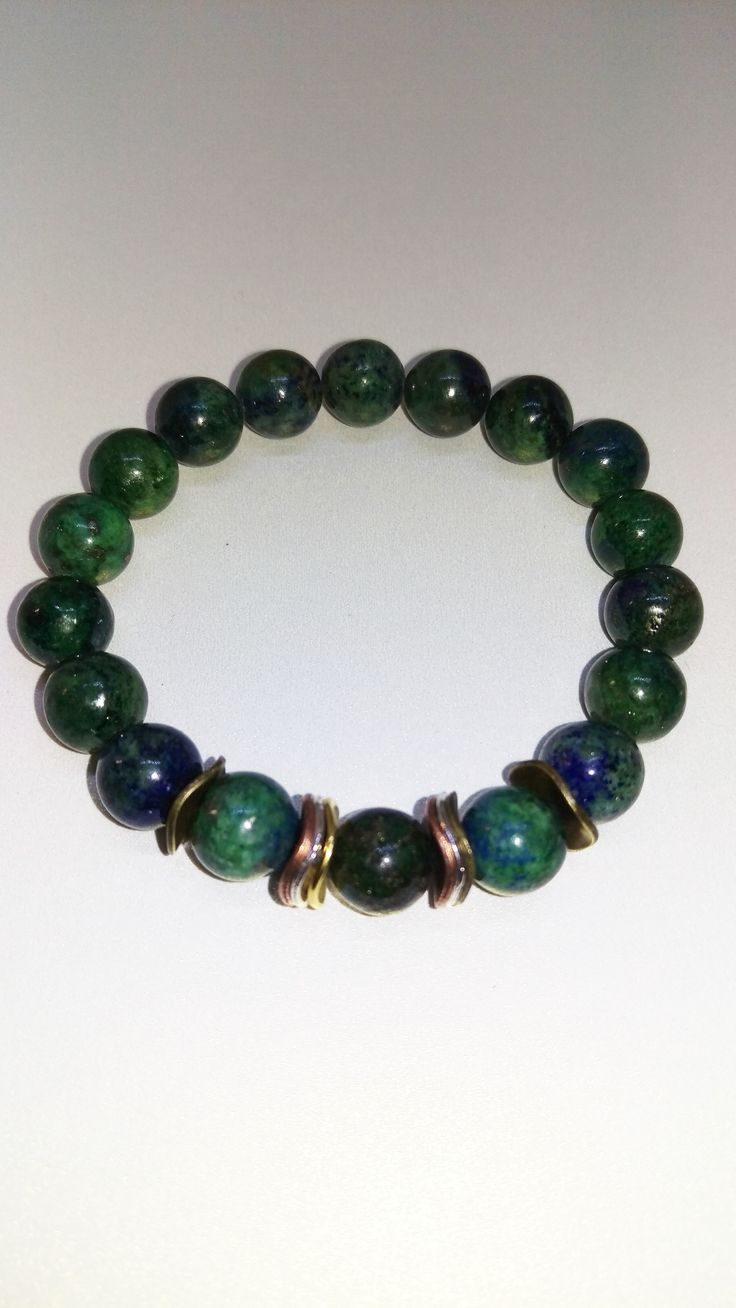 Azurite-Malachite Stretch Bracelet with Gold ,Silver and Copper Accents. Good stone to help with stress and worry. Click on the link to get it! Great gift idea for any occasion.