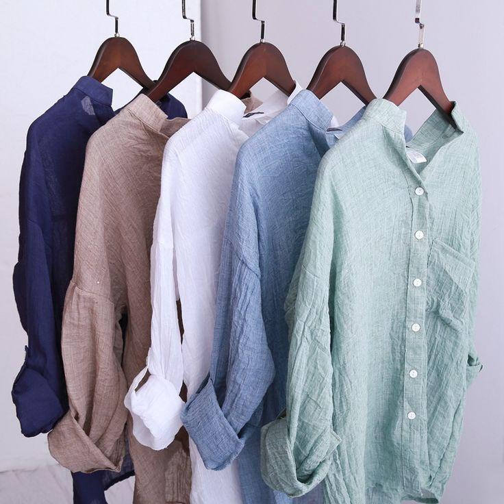6480 2015 Summer Style Women Blouses Casual Loose Plus Size Cotton Linen Blouse Three Quarter Sleeve Shirts Women Tops blusas