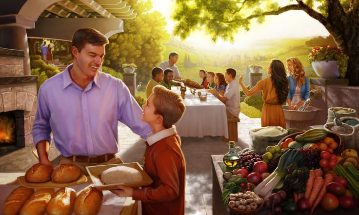 Jehovah's people enjoying themselves under Kingdom rule in the future Paradise