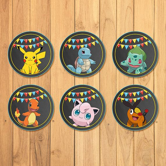 Pokemon Cupcake Toppers Chalkboard Pokemon por SometimesPie