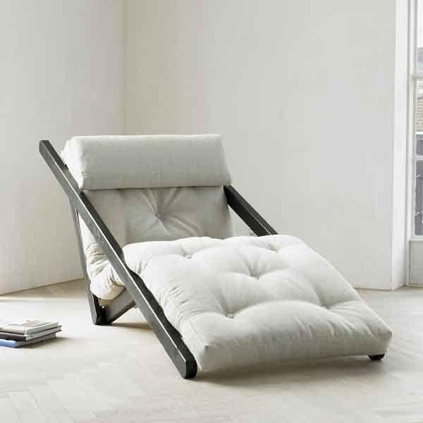 figo chaiselong 70x200 wenge med sand farvet futon madras med