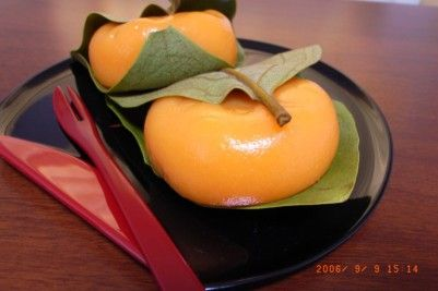 Happy Autumn! Mochi sweets shaped into persimmons.  柿の葉もち