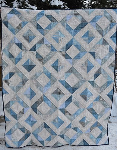 """wonderful colors, beautiful quilt! (Could be  """"Glacial Blue"""" as my color for the family quilt challenge!)  (Granite Blue?)"""