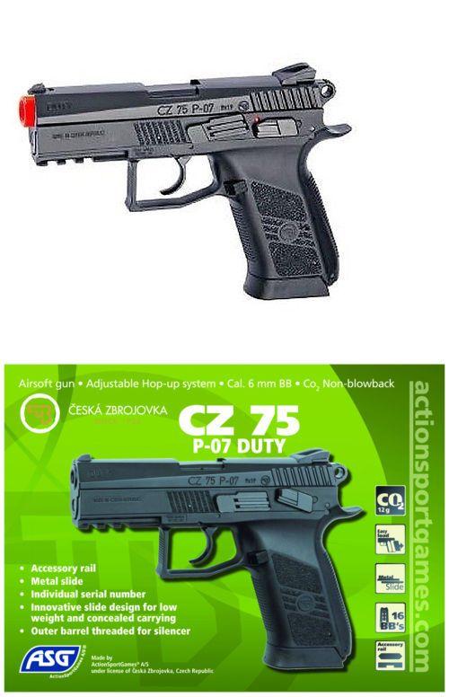 Pistol 160921: Cz 75 P-07 Duty Pistol Asg Airsoft Gun Co2 Blowback Metal Slide Tactical Rail -> BUY IT NOW ONLY: $74.95 on eBay!