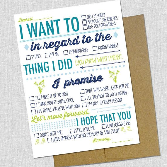 Fill In the Blank I'm Sorry Card- i could- no i should- no i WILL make this!!! i need these… a lot of them! lol