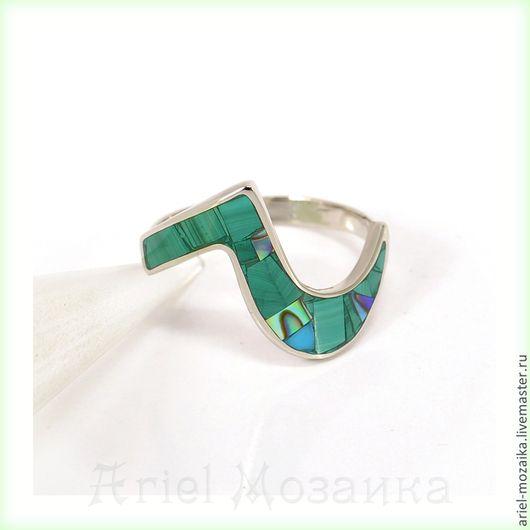 Кольцо `Змейка`  ARIEL - Алёна - МОЗАИКА   Москва   Размер - 18.5  Кольцо с малахитом   Кольцо с перламутром   Кольцо тонкое  Кольцо-мозаика камней
