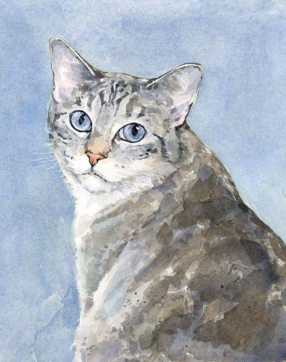 Peinture aquarelle personnalisée Portrait chat 8 par studiotuesday