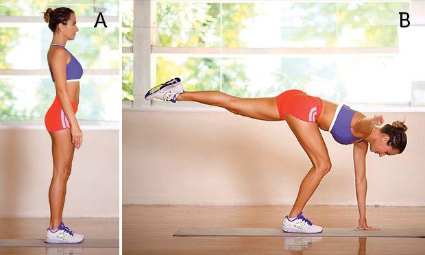Stiff modificado (posterior de coxa e glúteos) A. Alinhamento postural com os pés paralelos e as pernas afastadas na largura dos quadris.   B. Desça o tronco para a frente, flexionando o joelho direito e apoiando a mão esquerda no chão ao mesmo tempo em que eleva a perna esquerda para trás. A mão direita fica elevada na lateral, na altura do ombro. Volte para a posição inicial. respiração: inspire para descer e expire para subir.