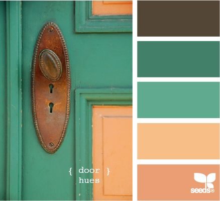 door hues #teal #coral: Colors Pallets, Colors Combos, Design Seeds, Colors Palettes, Front Doors, Colors Schemes, Doors Hue, Doors Colors, Colors Inspiration