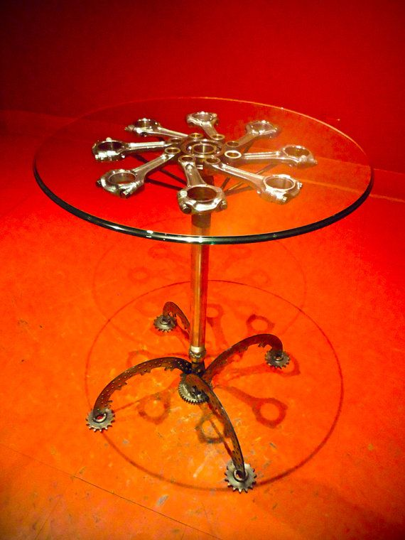 Side table made from Ducati motorcycle parts by DesmoDesigns, $1500.00