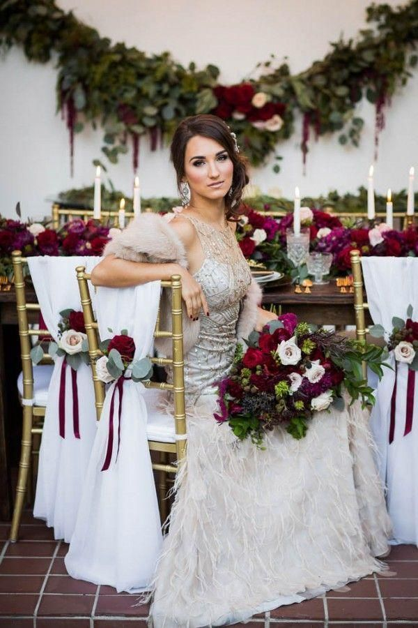 Berry and gold are a lovely combination for a winter wedding! | Dina Chmut via Junebug Weddings