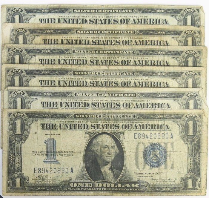 Just Listed! Lot of 6 – 1934 $1 Silver Certificate Funny Back Note Blue Seal https://www.paper-money-collector.com/product/lot-of-6-1934-1-silver-certificate-funny-back-note-blue-seal/ #Paper #Money #UnitedStates #Silver