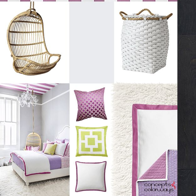 Purple And Gray Girls Room Interior Idea Board, Rattan Hanging Swing Chair,  Light Gray