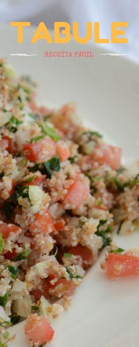 Receita refrescante de Tabule - Salada de trigo, temperos e vegetais