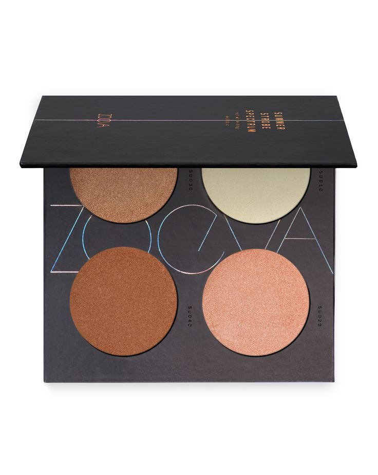 Summer Strobe Spectrum Palette by ZOEVA  I NEED more make-up from Zoeva! A beautiful palette containing 4 pearlescent hues to give a Summer glow. Includes a mint green powder to disguise a ruddy complexion if you've spent a bit too much time in the sun! Really great value too. #affiliate