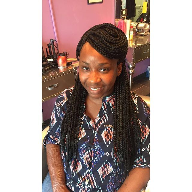 Crochet box braids + individual braids on the outside