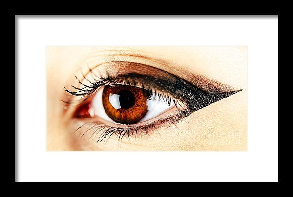 Woman Eye With Makeup And Long Eyelashes Framed Print