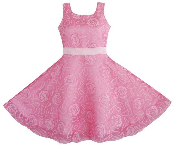 Sunny Fashion Girls Dress Pink Rose Wedding Pageant Boutique Kids Children Clothes 4-12 Girl Summer Princess Dresses Vestidos