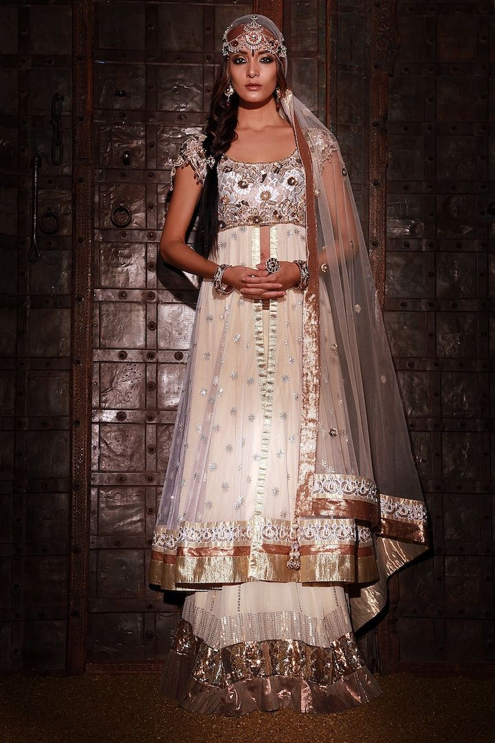 Georgette lengha with tissue frills and long jacket, lace ...