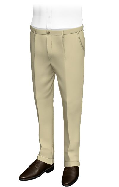 Fundamental Beige - Plain beige regular fit pants, 100% cotton...  Beige custom pants with pleats and centered fastening. Distinctive are the pants cuffs, the rounded side pockets and the piped back pockets with button. These dateils, as well as the beige fabric make the pants look sporty and casual.  http://www.tailor4less.com/en/collections/custom-pants/basics-collection-pants/fundamental-beige