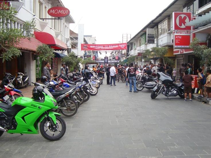 Bikers' Community in Braga Street, Bandung, Indonesia.