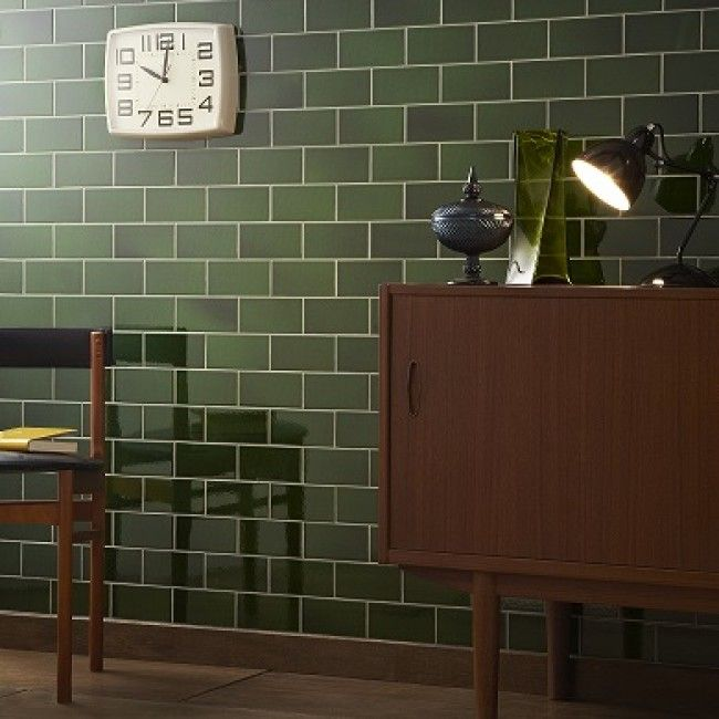 V A Olive Puddle Glaze Wall Tile 76x152